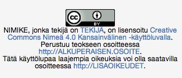 CC BY -lisenssimerkintä, esimerkki